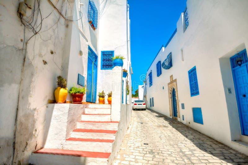 Sidi Bou Said Tunesië, Noord-Afrika stock afbeeldingen