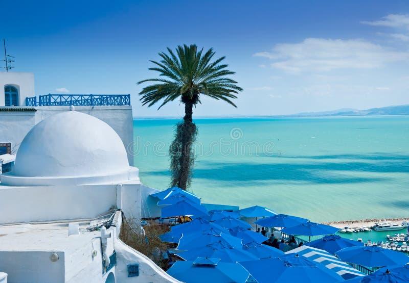 Sidi Bou Said, Tunis. A view of Sidi Bou Said, traditional Tunisian architecture and the beautiful Mediterranean Sea royalty free stock photos