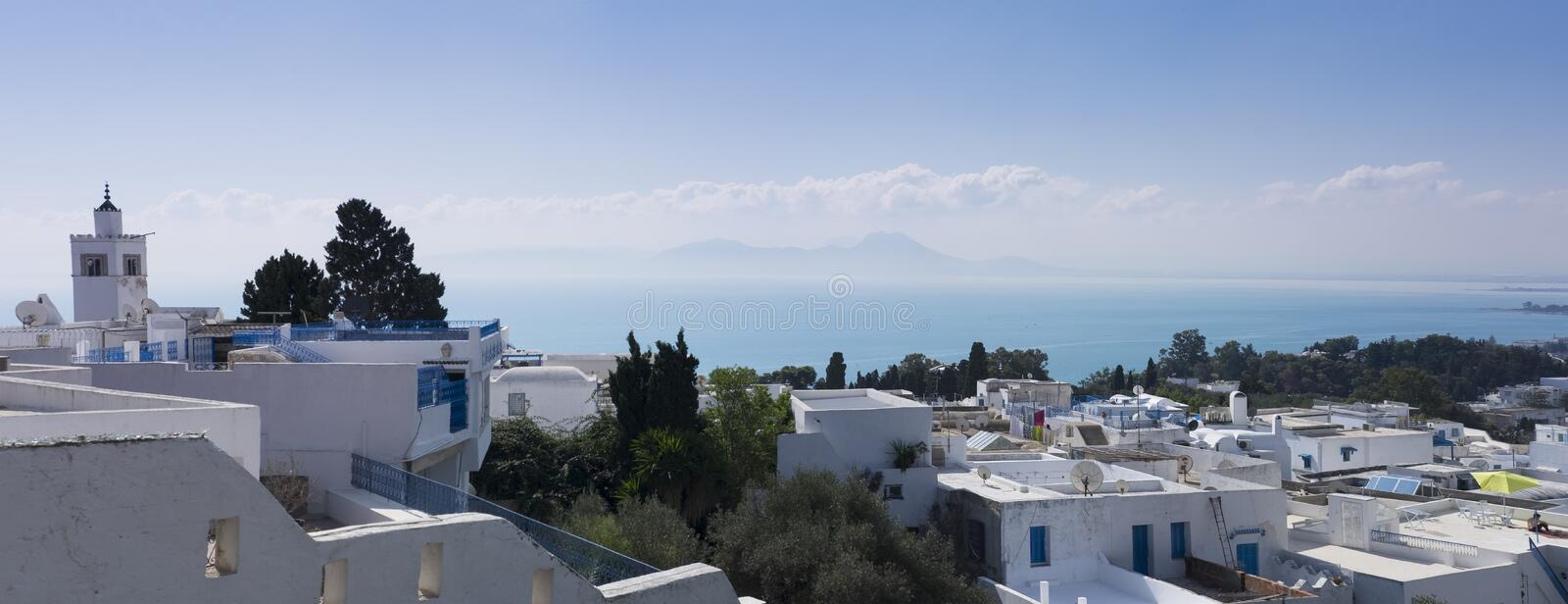 Sidi Bou Said. White house with blue windows and doors. royalty free stock images