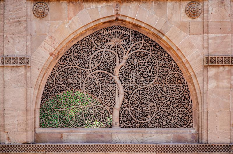 Sidi saiyed jali Ahmedabad. Sidi Saiyyad Mosque Ahmedabad. World famous window grille known for its intricate stone carving. Created in 1572 A.D stock image