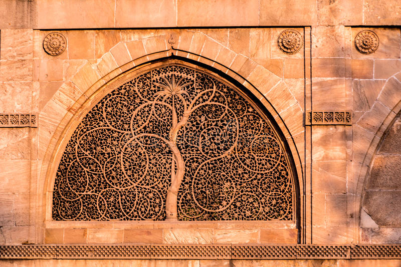 Sidi Saiyyed Mosque, Ahmadabad. Stone carving of Sidi Saiyyed ni Jali, Mosque, outside view, Ahmadabad, India stock photo