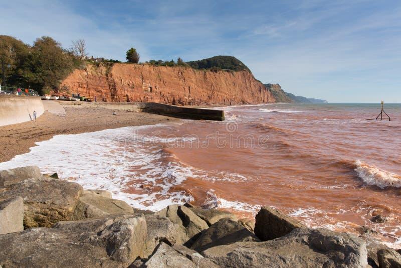 Sidmouth海滩海岸德文郡英国英国有沿侏罗纪海岸的一个看法 免版税库存图片