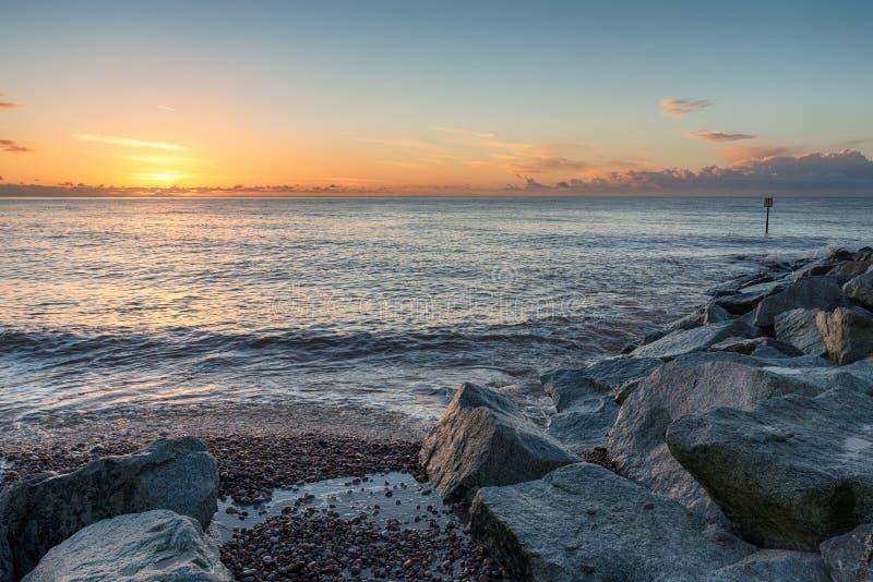 Sidmouth海滩 免版税库存照片