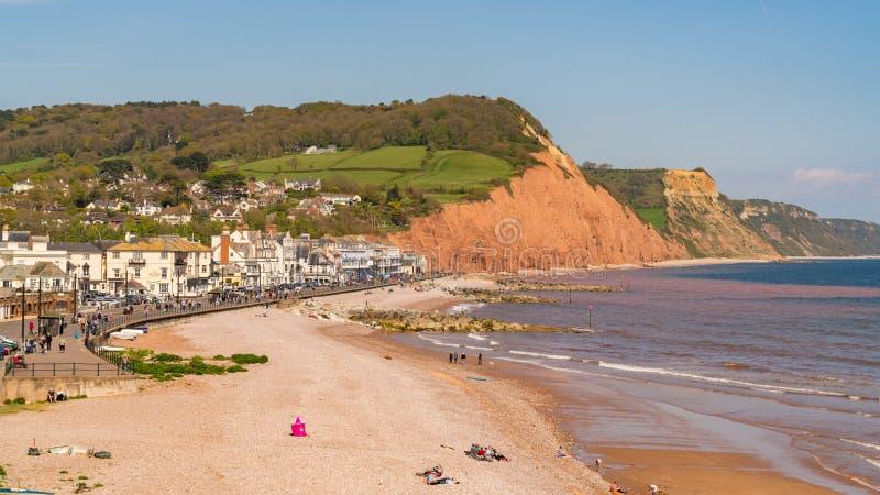 Sidmouth,侏罗纪海岸,德文郡,英国 免版税库存照片