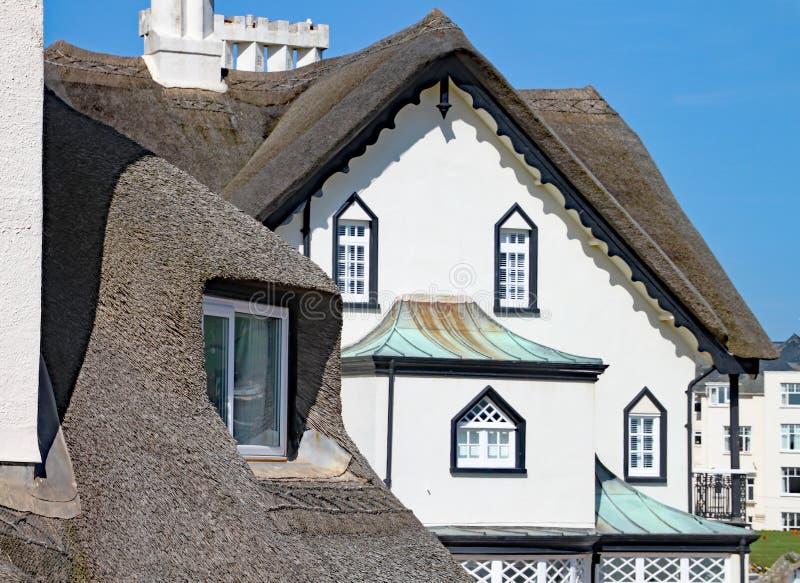 SIDMOUTH, DEVON - 1. APRIL 2012: Der schöne alte mit Stroh gedeckte Wohnsitz steht auf der Sidmouth-Küste an einem sonnigen Tag stockbilder