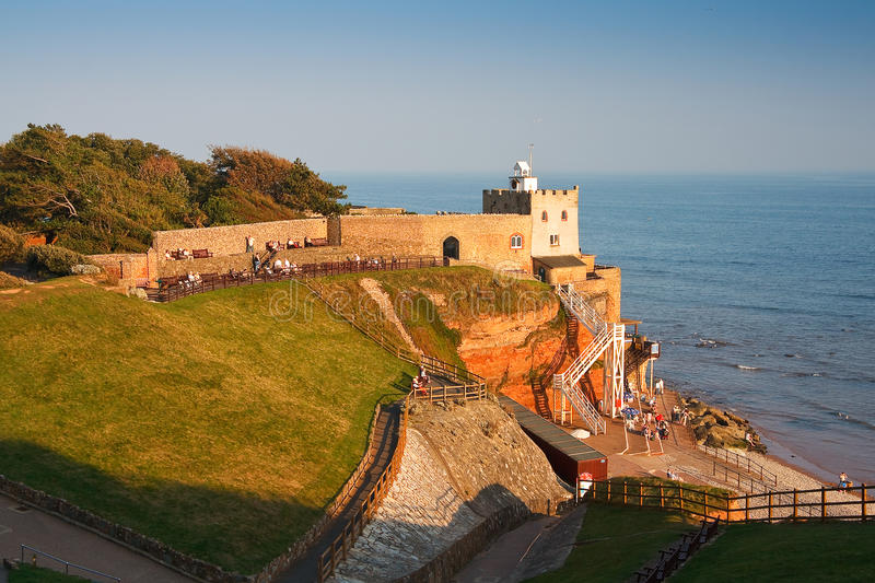Sidmouth in Devon, UK. Jacob's Ladder and the beach in Sidmouth, Devon, UK stock photos