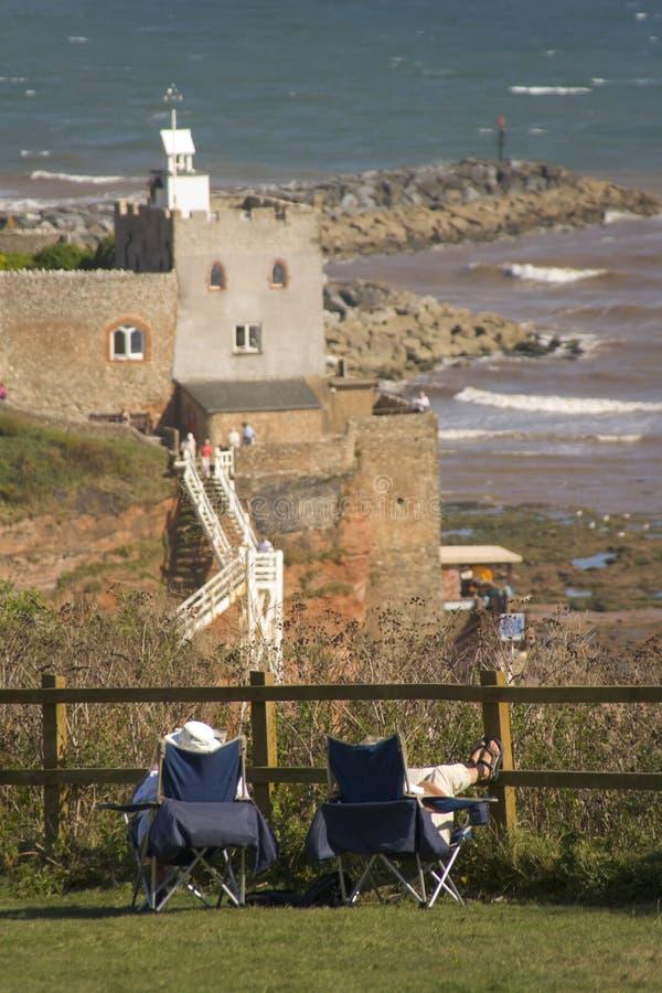 Sidmouth giurassico Devon Inghilterra del litorale di Sidmouth fotografia stock libera da diritti