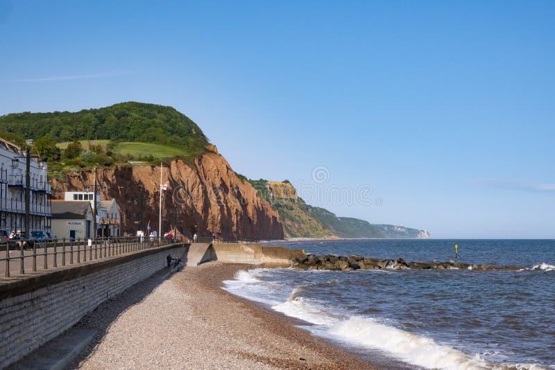 Sidmouth på den Jurassic kusten, UK arkivbilder