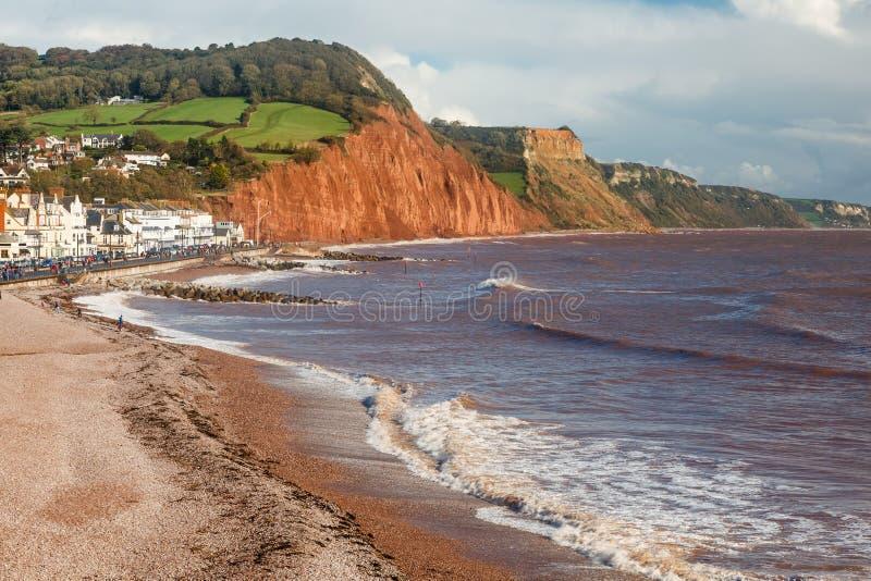 Sidmouth-Strand Devon England stockfotografie