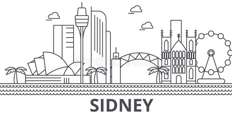 Sidney arkitekturlinje horisontillustration Linjär vektorcityscape med berömda gränsmärken, stadssikt, designsymboler stock illustrationer