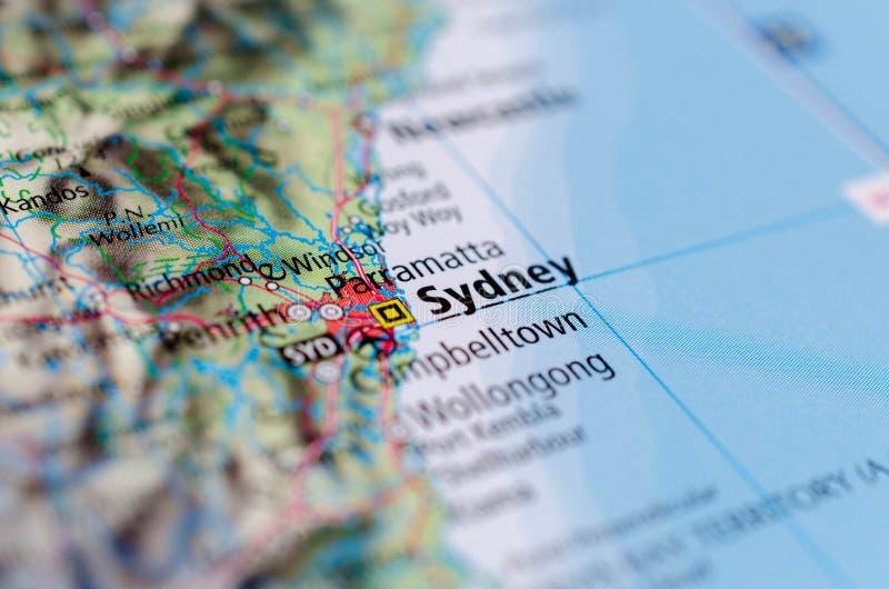 Sidney auf Karte stockfotografie