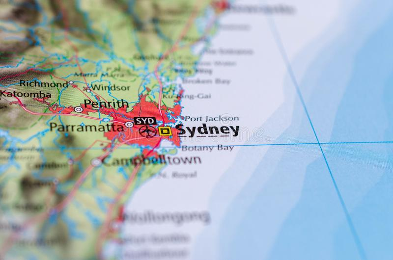 Sidney auf Karte lizenzfreies stockbild