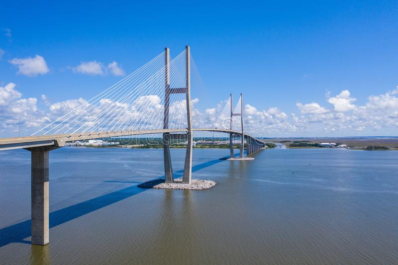 Sidney Lanier Bridge. Cable bridge in Brunswick GA. Southeast United States stock photography