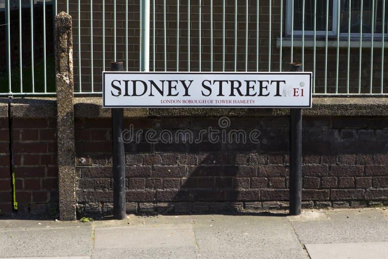 Sidney Street i London royaltyfria foton