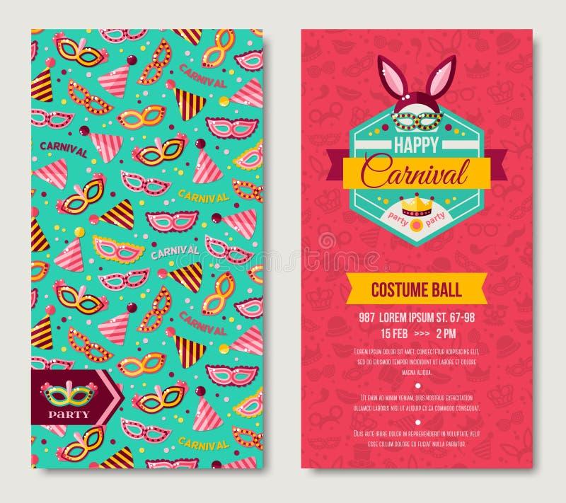 Sidoaffisch för karneval två, roliga biljetter för Funfair stock illustrationer