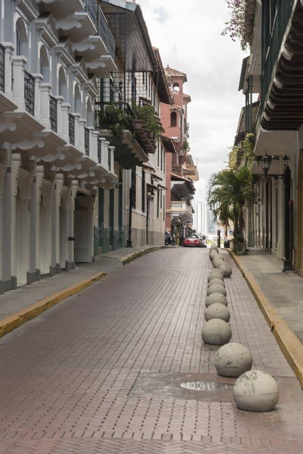Sidogata, gammal stad Panama City arkivbilder