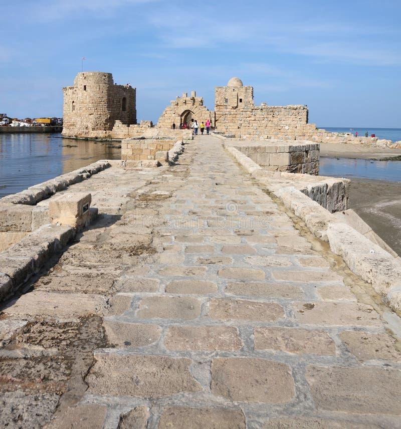 sidon моря Ливана крестоносца замока стоковая фотография rf