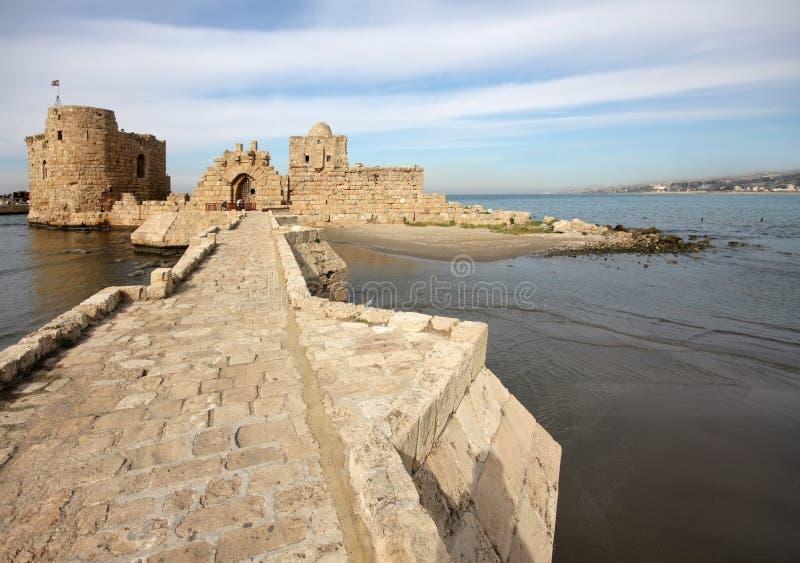 sidon моря Ливана крестоносца замока стоковое изображение
