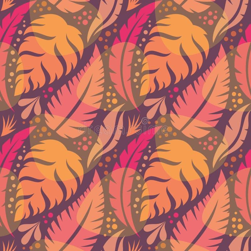 Sidor av exotiska växter - idérik vektorillustration seamless blom- modell abstrakt bakgrundsbegrepp tropisk sommar stock illustrationer