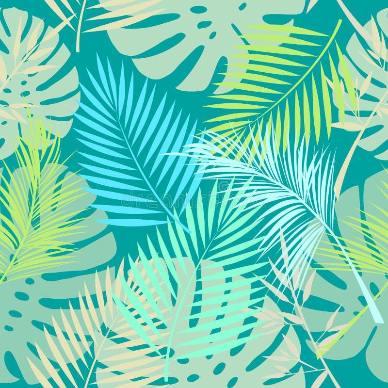 Sidor av palmträdet, sömlös modell stock illustrationer