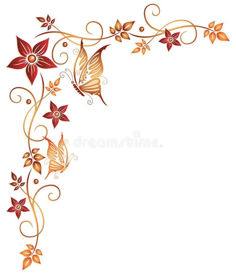 Sidor blommor, fjärilar royaltyfri illustrationer