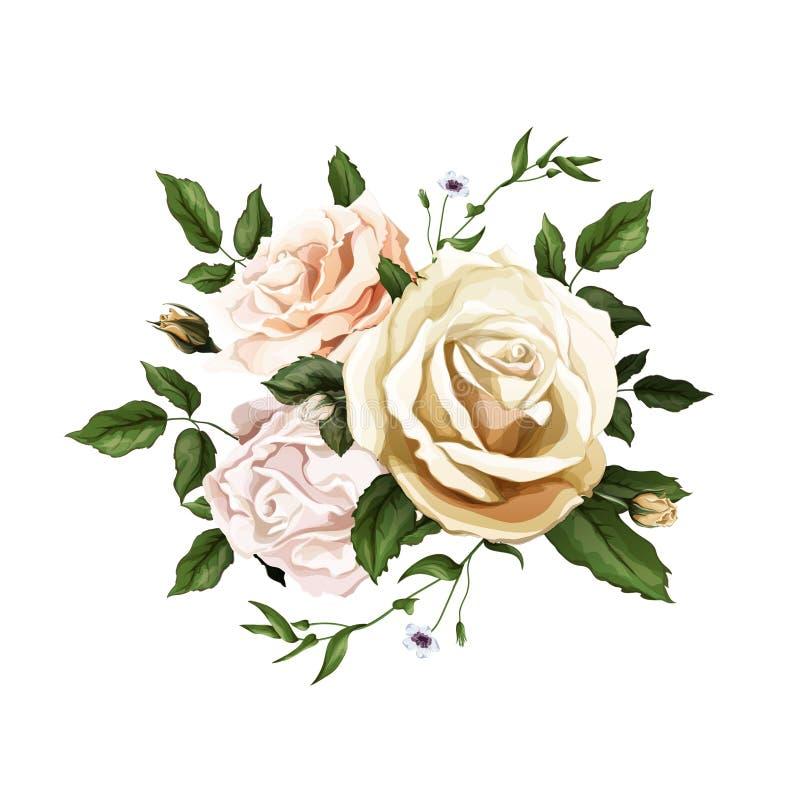 Sidor för bukett för realistisk vattenfärg för vektor rosa royaltyfri illustrationer