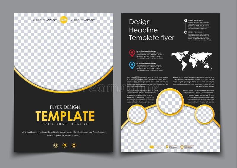 Sidor för design 2 av A4 svärtar med gula beståndsdelar royaltyfri illustrationer
