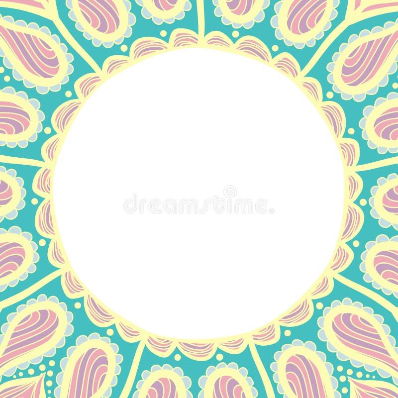 Sidor för färgläggningbok för ungar och vuxna människor Hand dragen abstrakt design Den dekorativa indierrundan snör åt den utsmy stock illustrationer