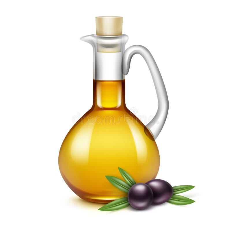 Sidor för filialer för oliv för Olive Oil Glass Jug Pitcher krusflaska vektor illustrationer