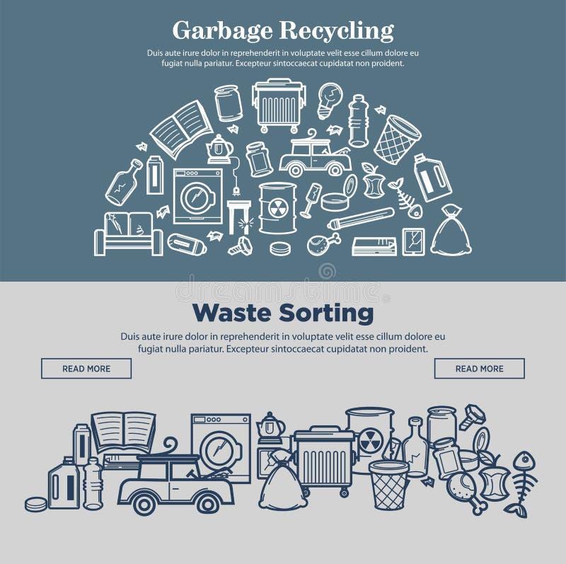 Sidor för internet för avskrädeåtervinning- och avfallssorteringprmotional vektor illustrationer
