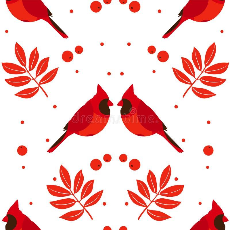 Sidor för symmetrisk modell för glad jul gulliga, röd kardinal och bär på vit bakgrund vektor royaltyfri illustrationer