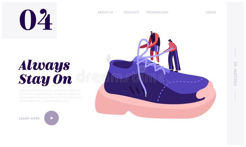 Sidor för utbildning på sidan för landning av webbplatser Tiny Sportsman och Sportswomen Tie Shoelaces på Huge Sneaker royaltyfri illustrationer