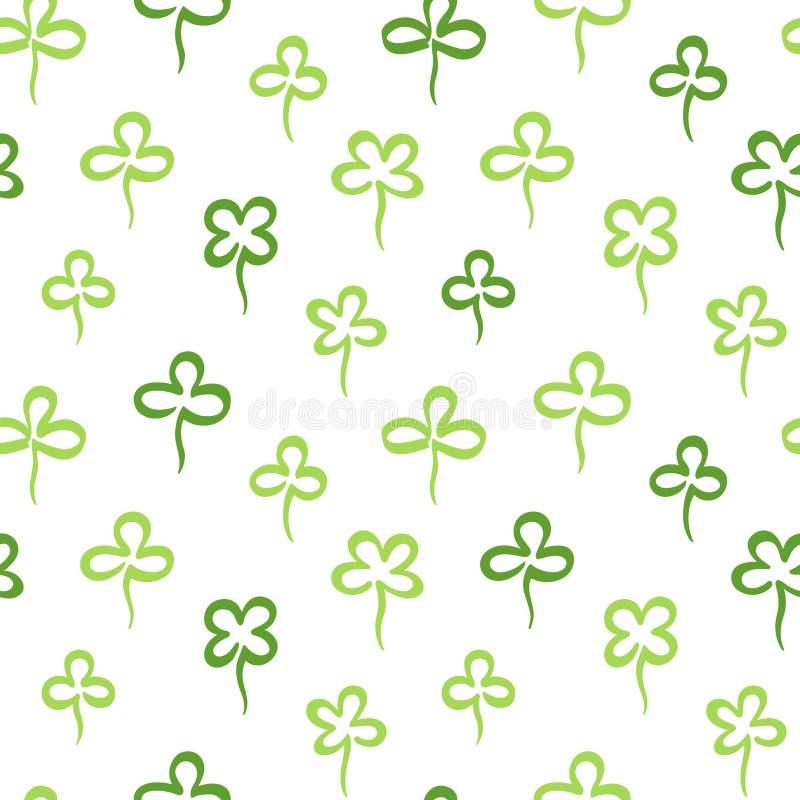 Sidor för växt av släktet Trifolium för handmarkör utdragna, sömlös modell för treklöver royaltyfri illustrationer