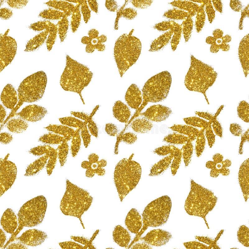 Sidor och blommor av guld- blänker på vit bakgrund, sömlös modell arkivfoton