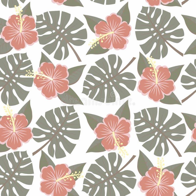 Sidor och blommor för vektorillustration sömlösa tropiska - vektor illustrationer