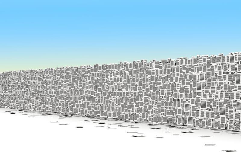 Sidor skyler över brister den isometry väggen 3d vektor illustrationer