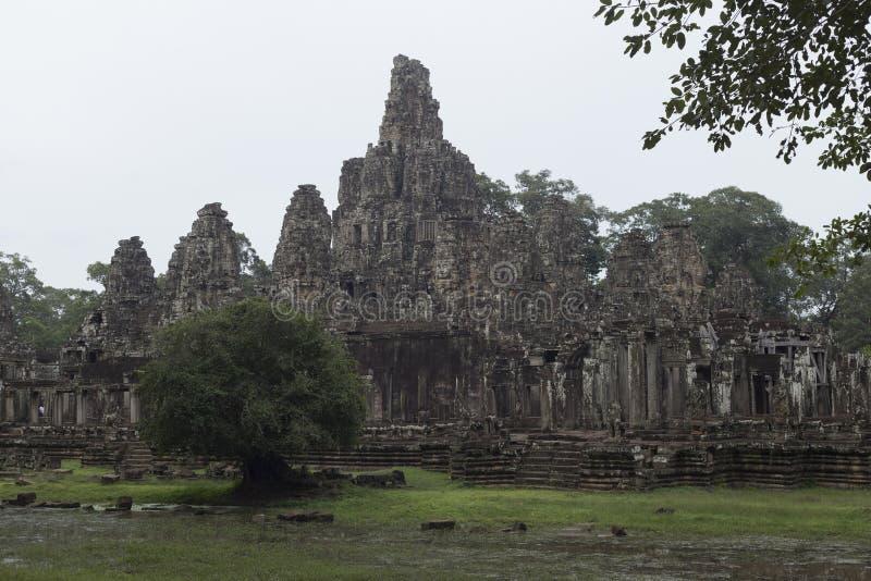 Sidosikt av den Angkor Thom templet och trädet arkivfoto