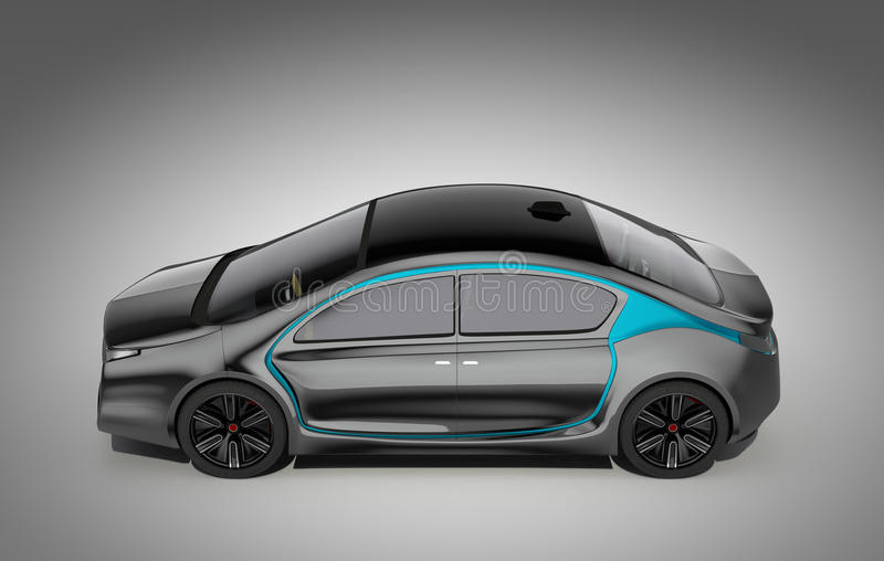 Sidosikt av den autonoma elbilen stock illustrationer