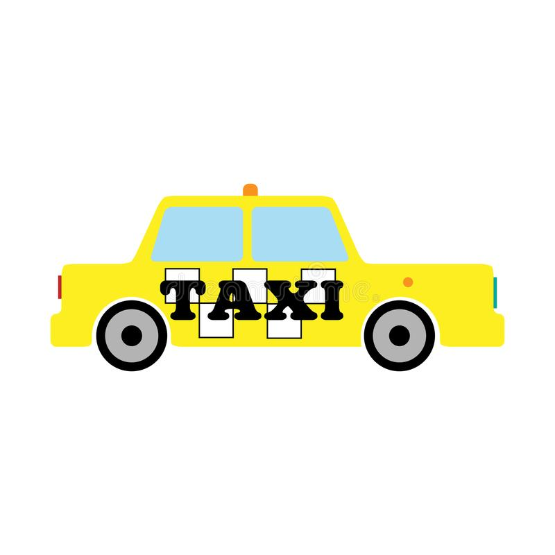 Sidosikt av den gula taxien Isolerad symbol, logo, symbol ocks? vektor f?r coreldrawillustration vektor illustrationer