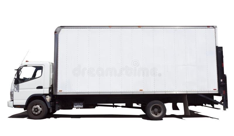 Sidosikt av den isolerade vita skåpbilen för leveranslastbil royaltyfri bild