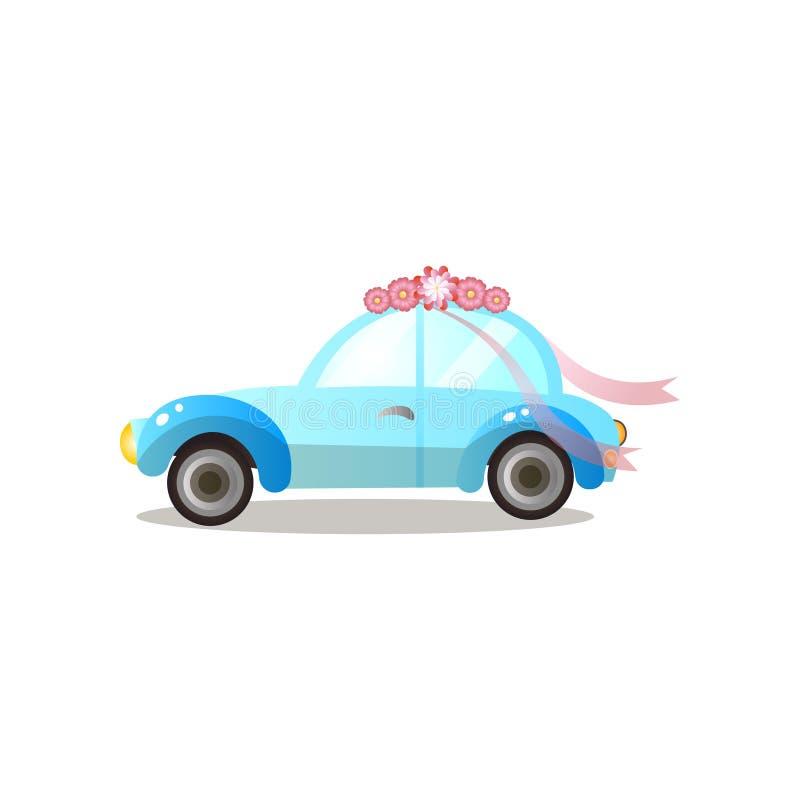 Sidosikt av den retro blåa bilen med blommor och bandet stock illustrationer