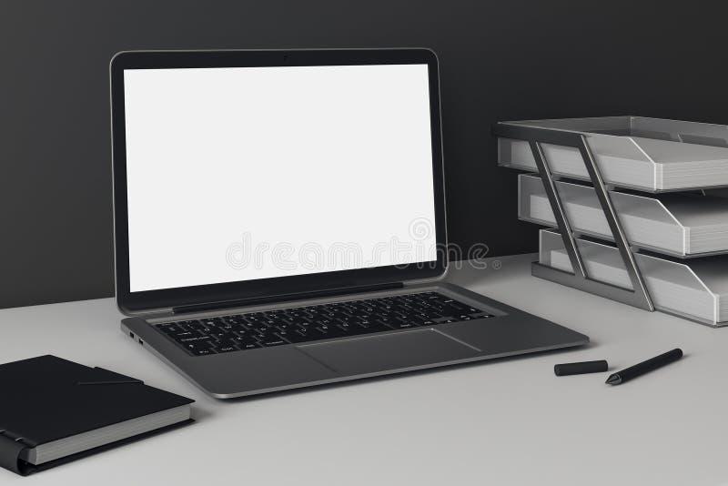 Sidosikt av den tomma kontorsbärbara datorn royaltyfri illustrationer