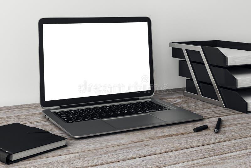 Sidosikt av den vita kontorsbärbara datorn royaltyfri illustrationer