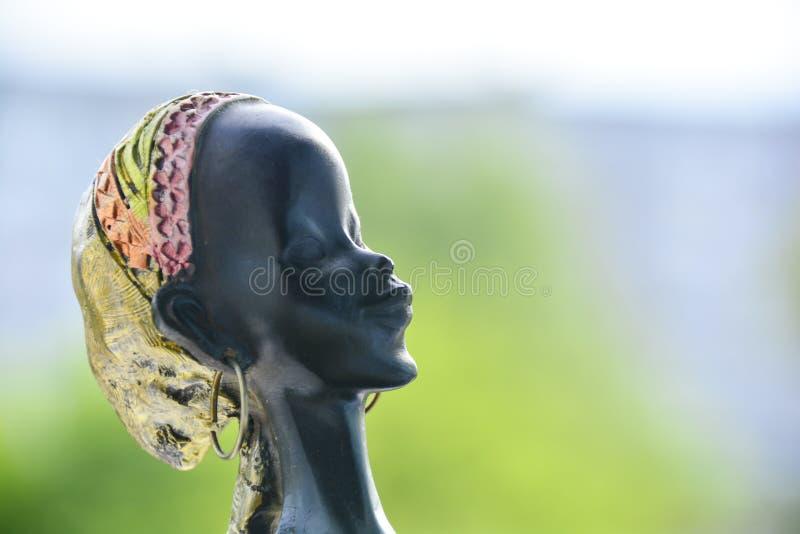 Sidosikt av det afrikanska kvinnahuvudet på suddig bakgrund royaltyfri fotografi