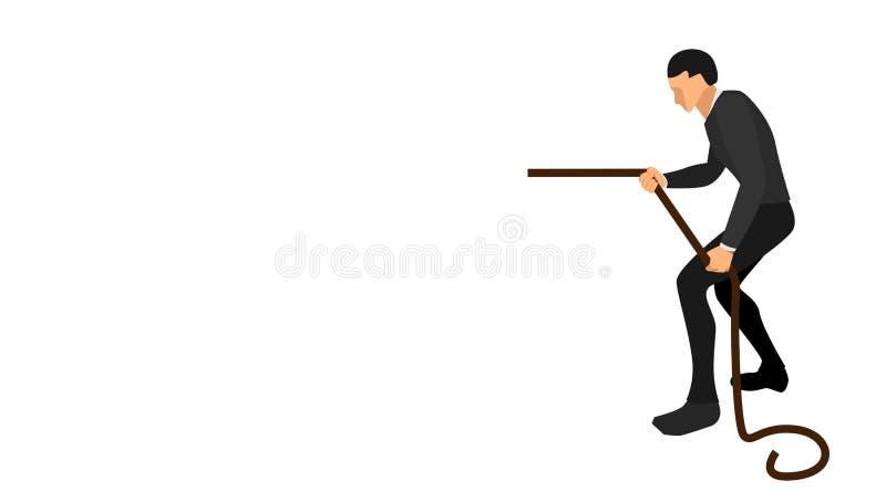 Sidosikt av en affärsman som drar ett rep med hans hand design för mapp för vektor för affärsbakgrundsmall royaltyfri illustrationer