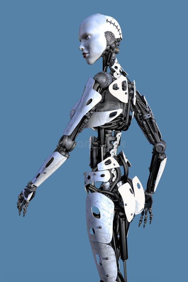 Sidosikt av en kvinnlig Robo vektor illustrationer