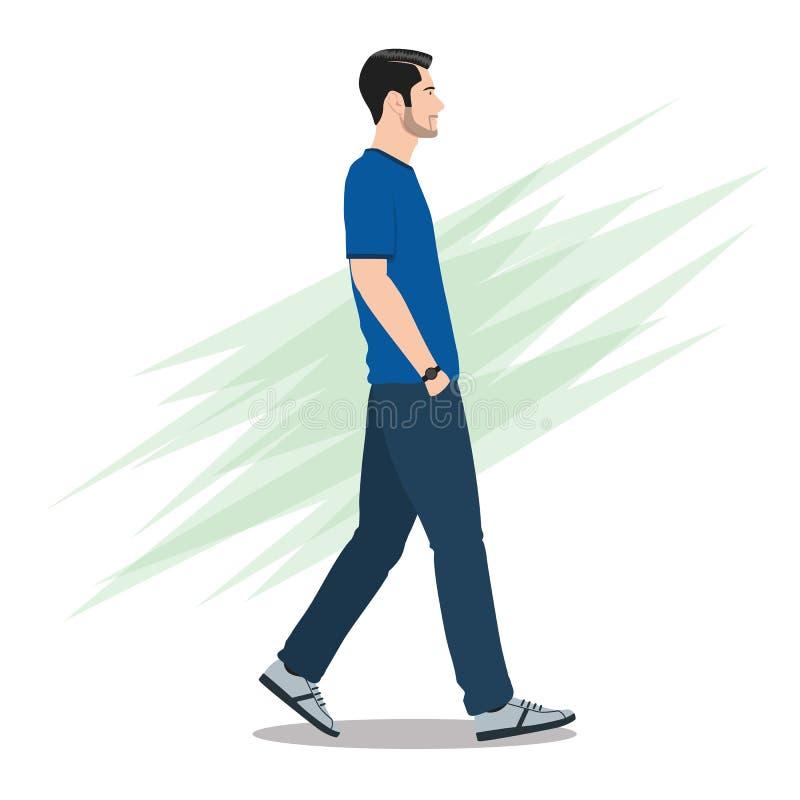 Sidosikt av en man som framåtriktat går vektor illustrationer