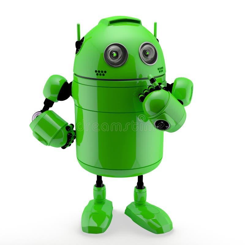 Sidosikt av en tänkande android vektor illustrationer
