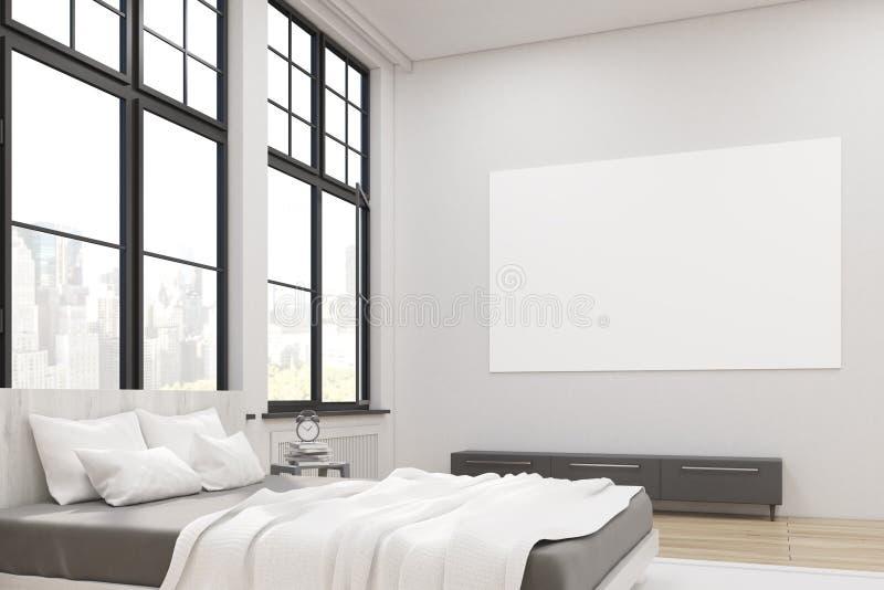 Sidosikt av ett ledar- sovrum med en säng vektor illustrationer
