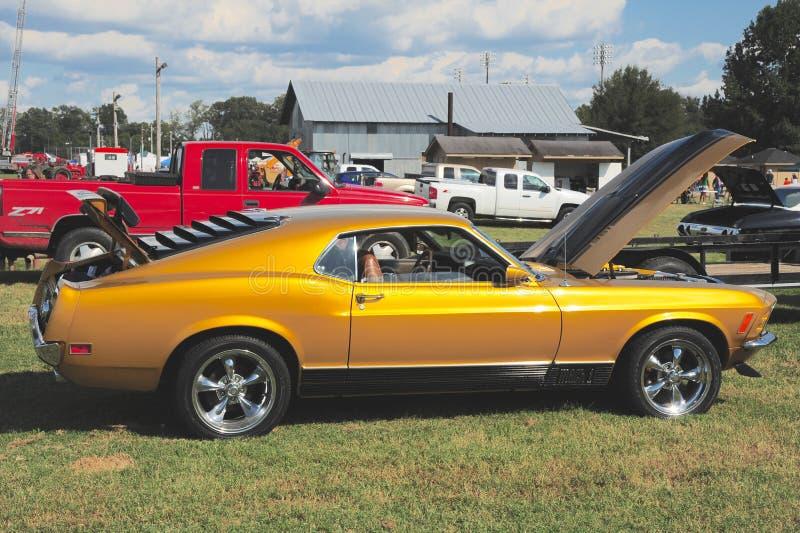 Sidosikt av för Ford för 1968 modell en Mach I mustang royaltyfri fotografi